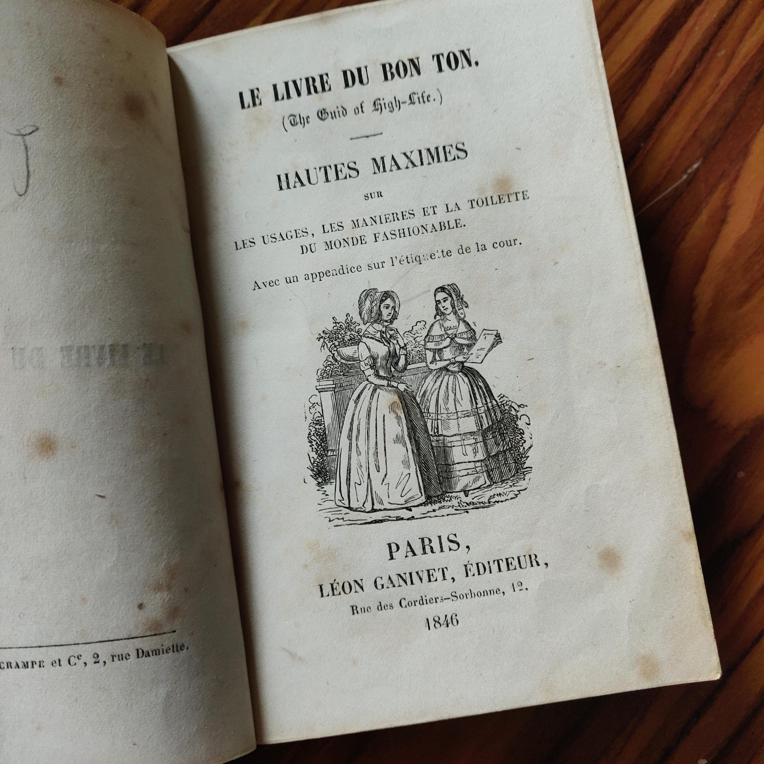 Mon petit livre de bonnes manières de 1846